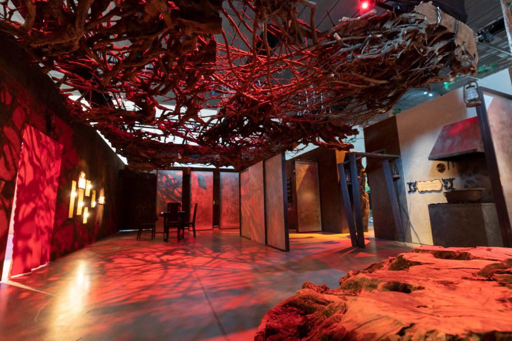 Huone on valaistu punaisella. Lattialla on jokin elementti, joka näyttää puulta ja kalliolta. Katossa on verkko,ainen oksista rakennettu kokonaisuus.